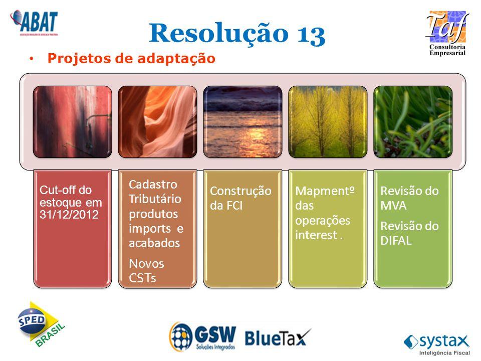 Resolução 13 Projetos de adaptação Cut-off do estoque em 31/12/2012 Cadastro Tributário produtos imports e acabados Novos CSTs Construção da FCI Mapme