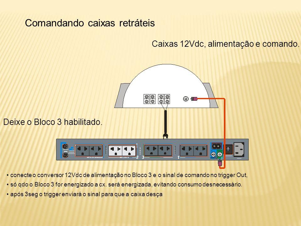 Comandando caixas retráteis Caixas 12Vdc, alimentação e comando.