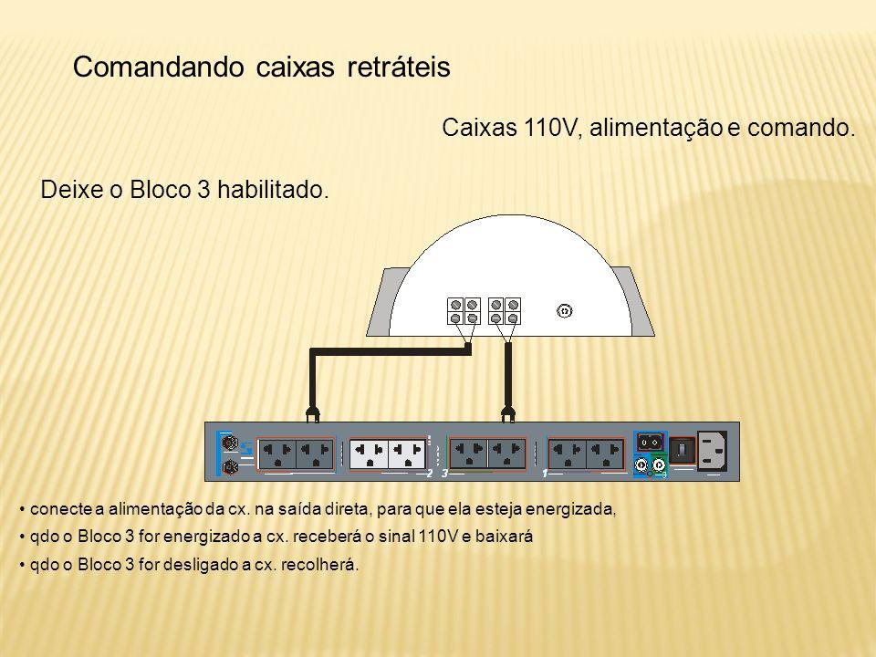 Comandando caixas retráteis Caixas 110V, alimentação e comando.