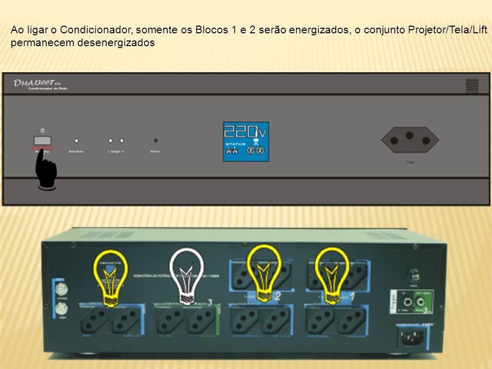 Ao ligar o Condicionador, somente os Blocos 1 e 2 serão energizados, o conjunto Projetor/Tela/Lift permanecem desenergizados