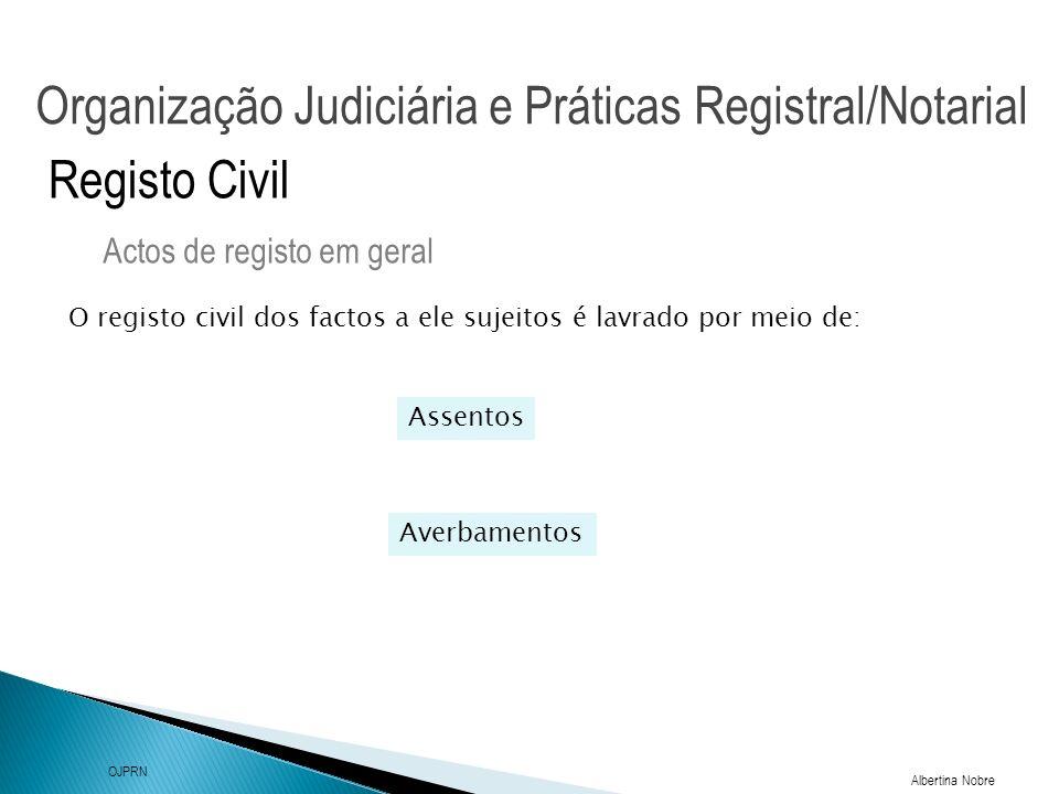 Organização Judiciária e Práticas Registral/Notarial Albertina Nobre OJPRN Registo Civil Intervenientes nos actos de registo Actos de registo em geral Nos actos de registo civil intervêm também testemunhas que abonam a identidade das partes, bem como a veracidade das respectivas declarações, e respondem, no caso de falsidade, tanto civil como criminalmente (nº3 artº45º).
