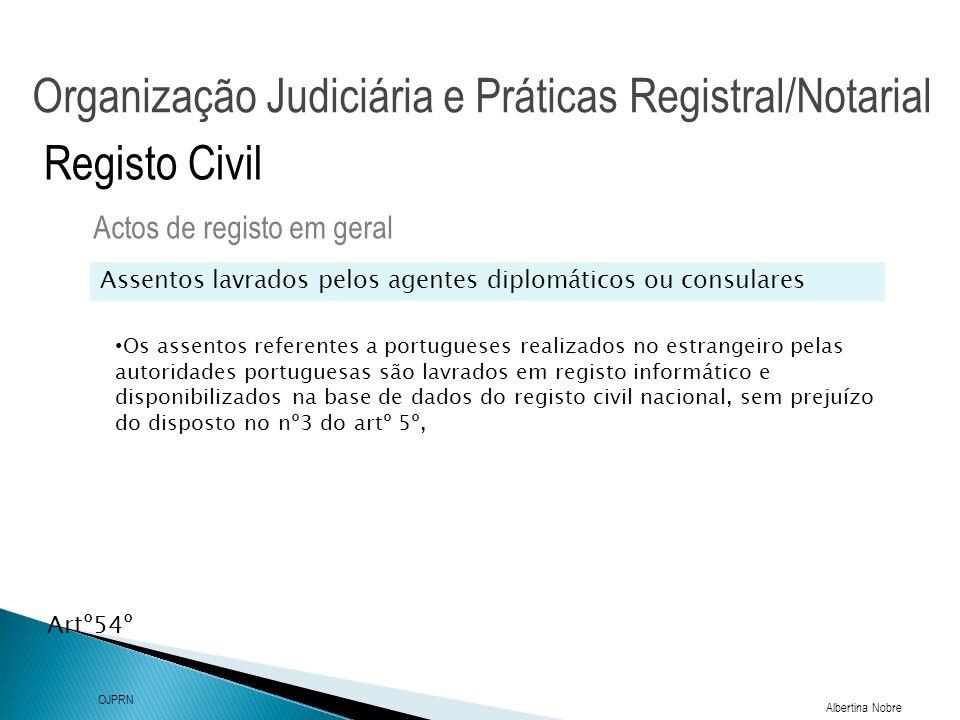 Organização Judiciária e Práticas Registral/Notarial Albertina Nobre OJPRN Registo Civil Intervenientes nos actos de registo Actos de registo em geral No acto da celebração de casamento só um dos nubentes pode fazer-se representar por procurador (artº 44º) As Partes