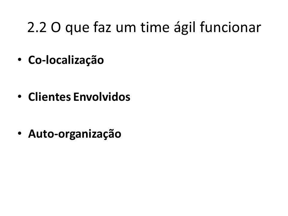 2.2 O que faz um time ágil funcionar Co-localização Clientes Envolvidos Auto-organização
