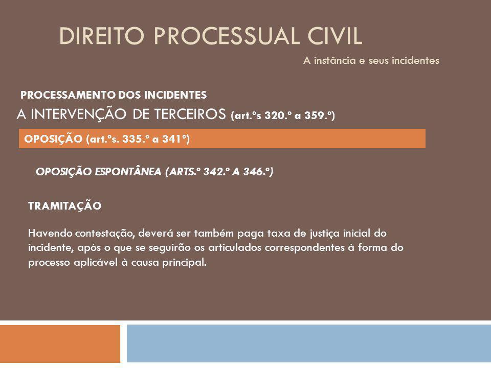 DIREITO PROCESSUAL CIVIL A instância e seus incidentes OPOSIÇÃO ESPONTÂNEA (ARTS.º 342.º A 346.º) TRAMITAÇÃO Havendo contestação, deverá ser também pa