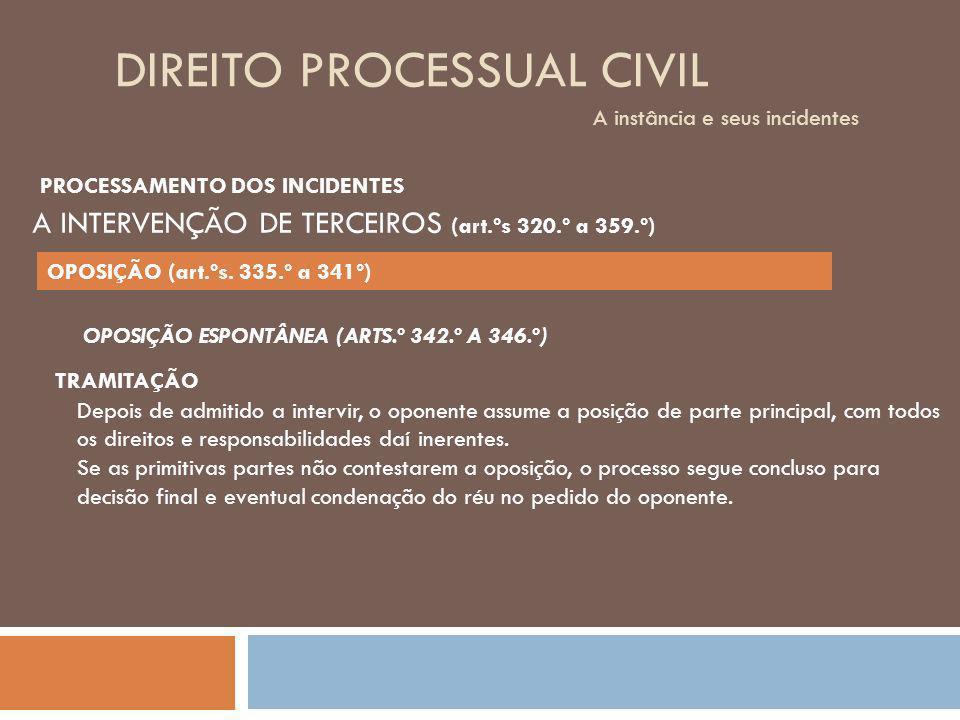 DIREITO PROCESSUAL CIVIL A instância e seus incidentes OPOSIÇÃO ESPONTÂNEA (ARTS.º 342.º A 346.º) TRAMITAÇÃO Depois de admitido a intervir, o oponente