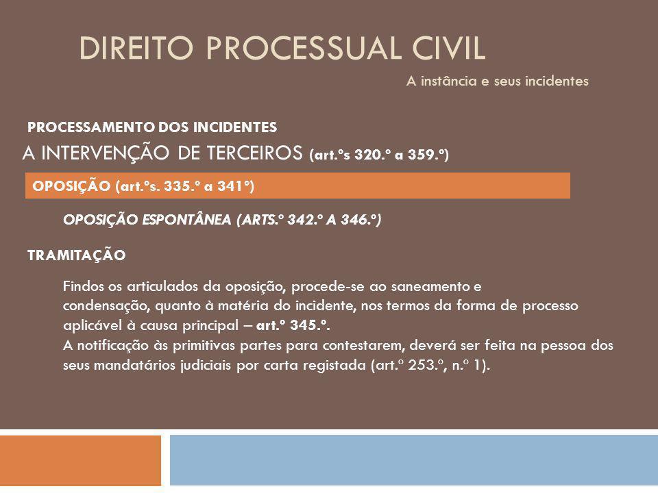 DIREITO PROCESSUAL CIVIL A instância e seus incidentes OPOSIÇÃO ESPONTÂNEA (ARTS.º 342.º A 346.º) TRAMITAÇÃO Findos os articulados da oposição, proced