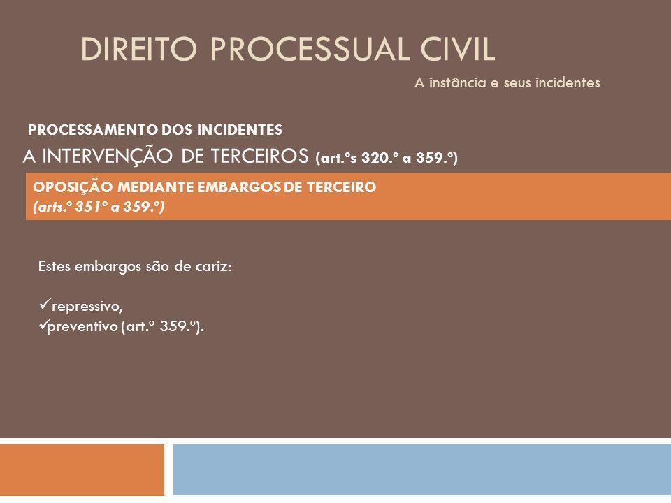DIREITO PROCESSUAL CIVIL A instância e seus incidentes Estes embargos são de cariz: repressivo, preventivo (art.º 359.º). PROCESSAMENTO DOS INCIDENTES