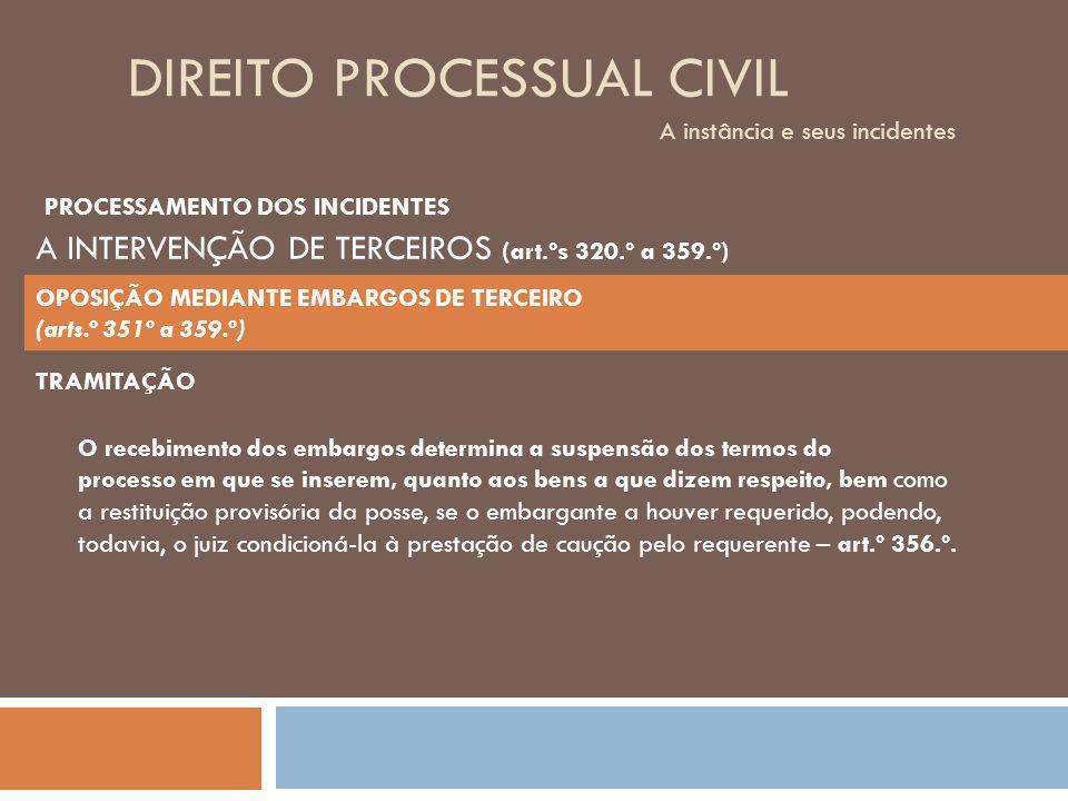DIREITO PROCESSUAL CIVIL A instância e seus incidentes TRAMITAÇÃO O recebimento dos embargos determina a suspensão dos termos do processo em que se in