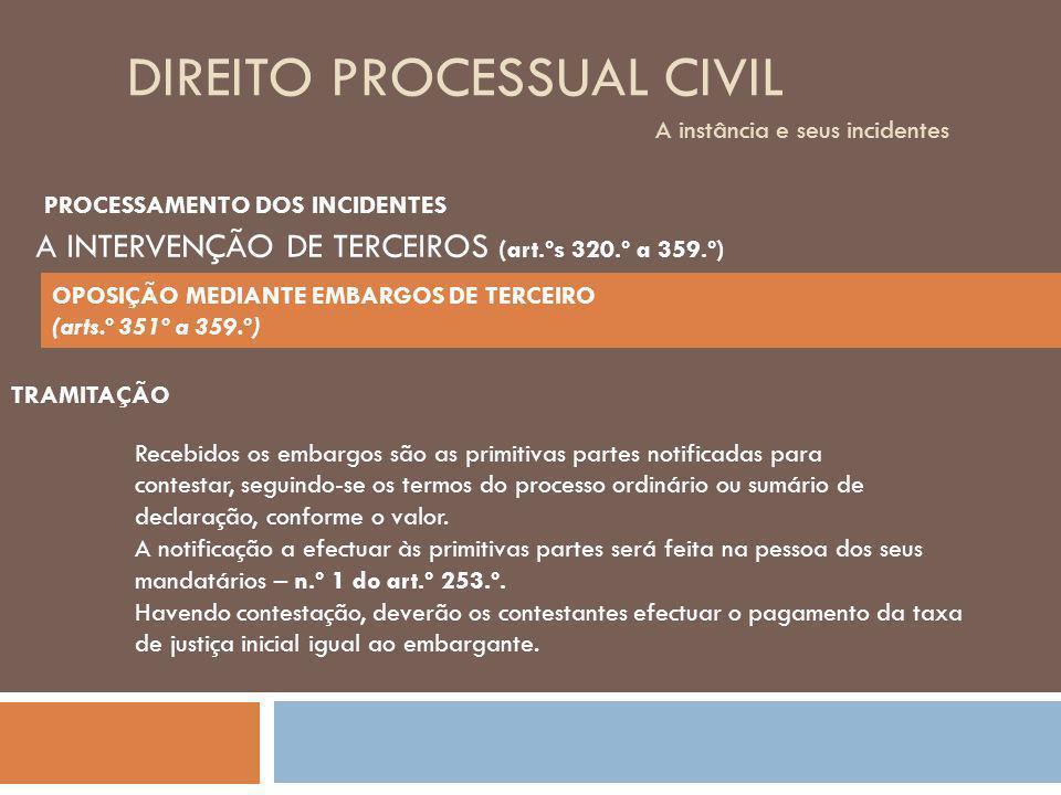 DIREITO PROCESSUAL CIVIL A instância e seus incidentes TRAMITAÇÃO Recebidos os embargos são as primitivas partes notificadas para contestar, seguindo-