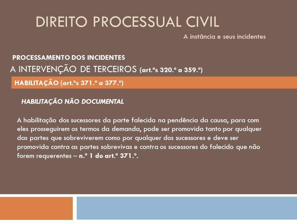DIREITO PROCESSUAL CIVIL A instância e seus incidentes A habilitação dos sucessores da parte falecida na pendência da causa, para com eles prosseguire