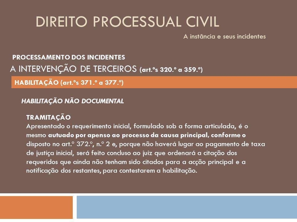 DIREITO PROCESSUAL CIVIL A instância e seus incidentes TRAMITAÇÃO Apresentado o requerimento inicial, formulado sob a forma articulada, é o mesmo autu