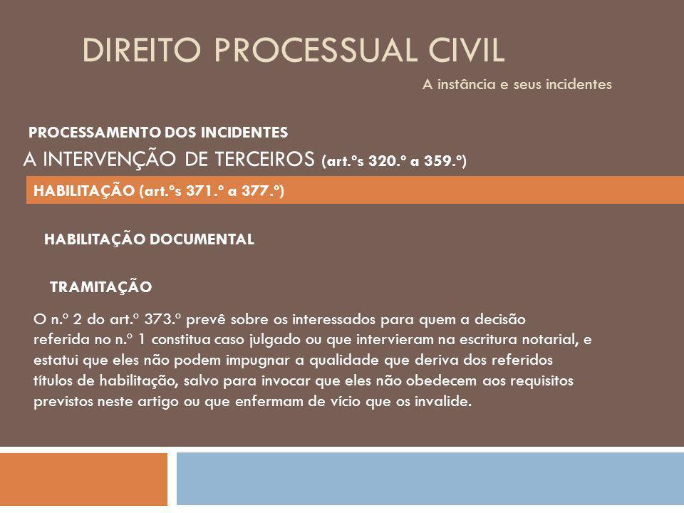 DIREITO PROCESSUAL CIVIL A instância e seus incidentes TRAMITAÇÃO O n.º 2 do art.º 373.º prevê sobre os interessados para quem a decisão referida no n