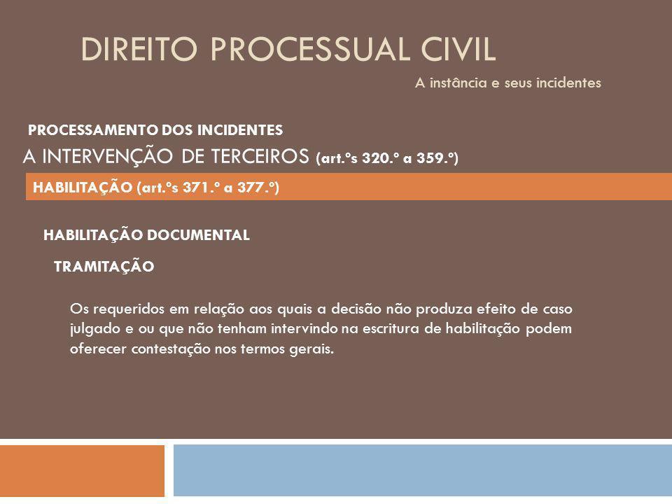 DIREITO PROCESSUAL CIVIL A instância e seus incidentes TRAMITAÇÃO Os requeridos em relação aos quais a decisão não produza efeito de caso julgado e ou