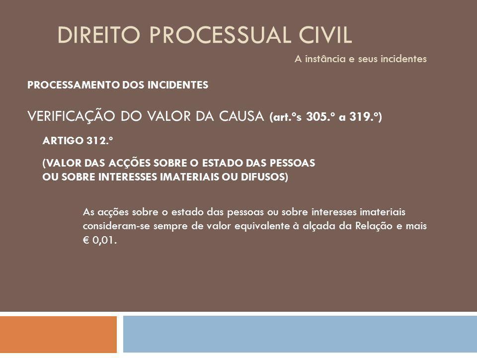 DIREITO PROCESSUAL CIVIL A instância e seus incidentes PROCESSAMENTO DOS INCIDENTES VERIFICAÇÃO DO VALOR DA CAUSA (art.ºs 305.º a 319.º) (VALOR DAS AC