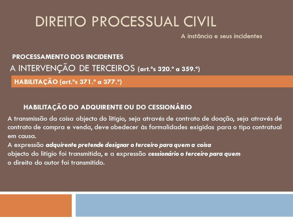 DIREITO PROCESSUAL CIVIL A instância e seus incidentes A transmissão da coisa objecto do litígio, seja através de contrato de doação, seja através de