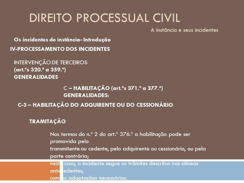 DIREITO PROCESSUAL CIVIL A instância e seus incidentes Os incidentes de instância- Introdução IV-PROCESSAMENTO DOS INCIDENTES INTERVENÇÃO DE TERCEIROS