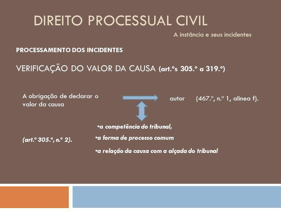 DIREITO PROCESSUAL CIVIL A instância e seus incidentes PROCESSAMENTO DOS INCIDENTES VERIFICAÇÃO DO VALOR DA CAUSA (art.ºs 305.º a 319.º) A obrigação d