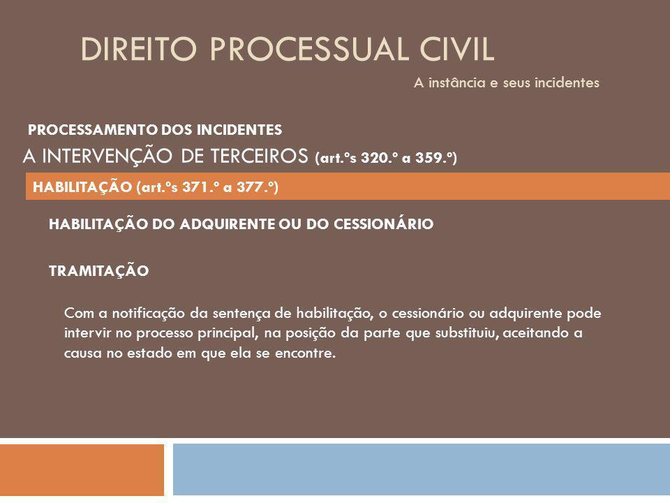 DIREITO PROCESSUAL CIVIL A instância e seus incidentes TRAMITAÇÃO Com a notificação da sentença de habilitação, o cessionário ou adquirente pode inter