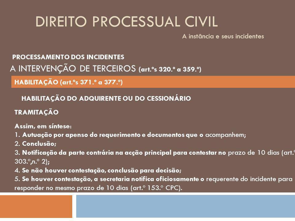 DIREITO PROCESSUAL CIVIL A instância e seus incidentes TRAMITAÇÃO Assim, em síntese: 1. Autuação por apenso do requerimento e documentos que o acompan