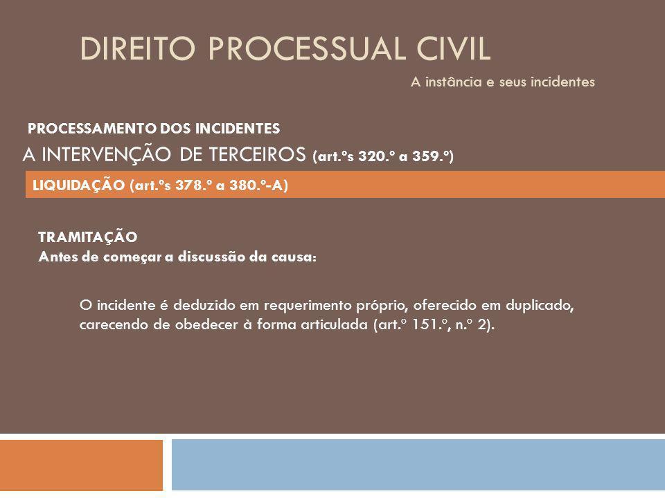 DIREITO PROCESSUAL CIVIL A instância e seus incidentes TRAMITAÇÃO Antes de começar a discussão da causa: O incidente é deduzido em requerimento própri