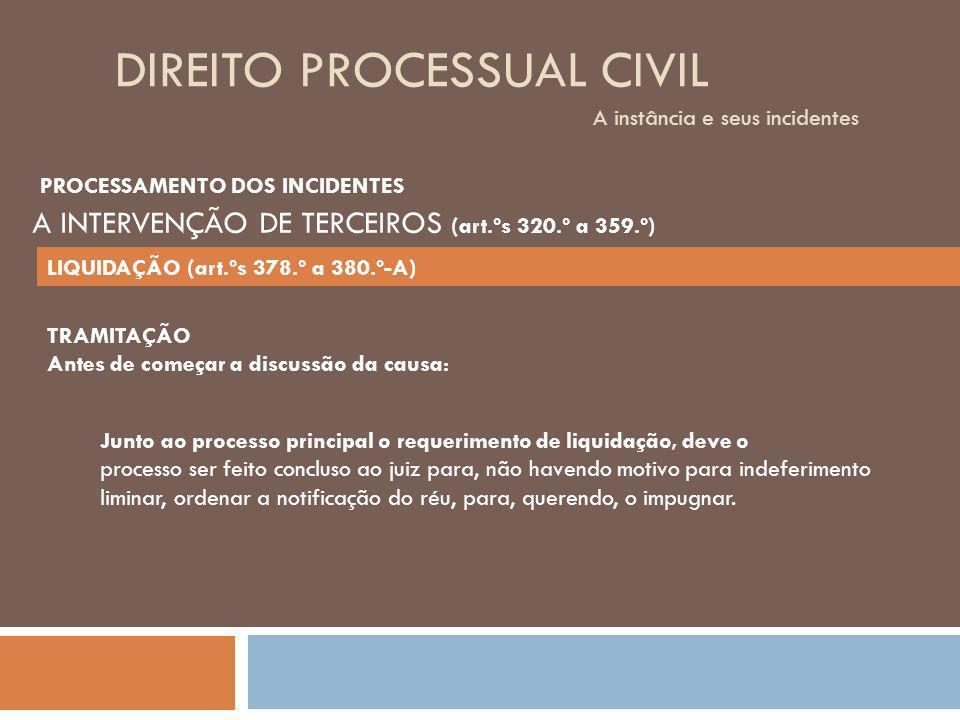 DIREITO PROCESSUAL CIVIL A instância e seus incidentes TRAMITAÇÃO Antes de começar a discussão da causa: Junto ao processo principal o requerimento de