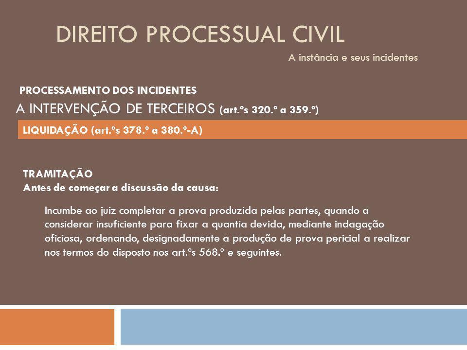 DIREITO PROCESSUAL CIVIL A instância e seus incidentes TRAMITAÇÃO Antes de começar a discussão da causa: Incumbe ao juiz completar a prova produzida p