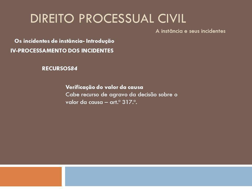DIREITO PROCESSUAL CIVIL A instância e seus incidentes Os incidentes de instância- Introdução IV-PROCESSAMENTO DOS INCIDENTES RECURSOS84 Verificação d