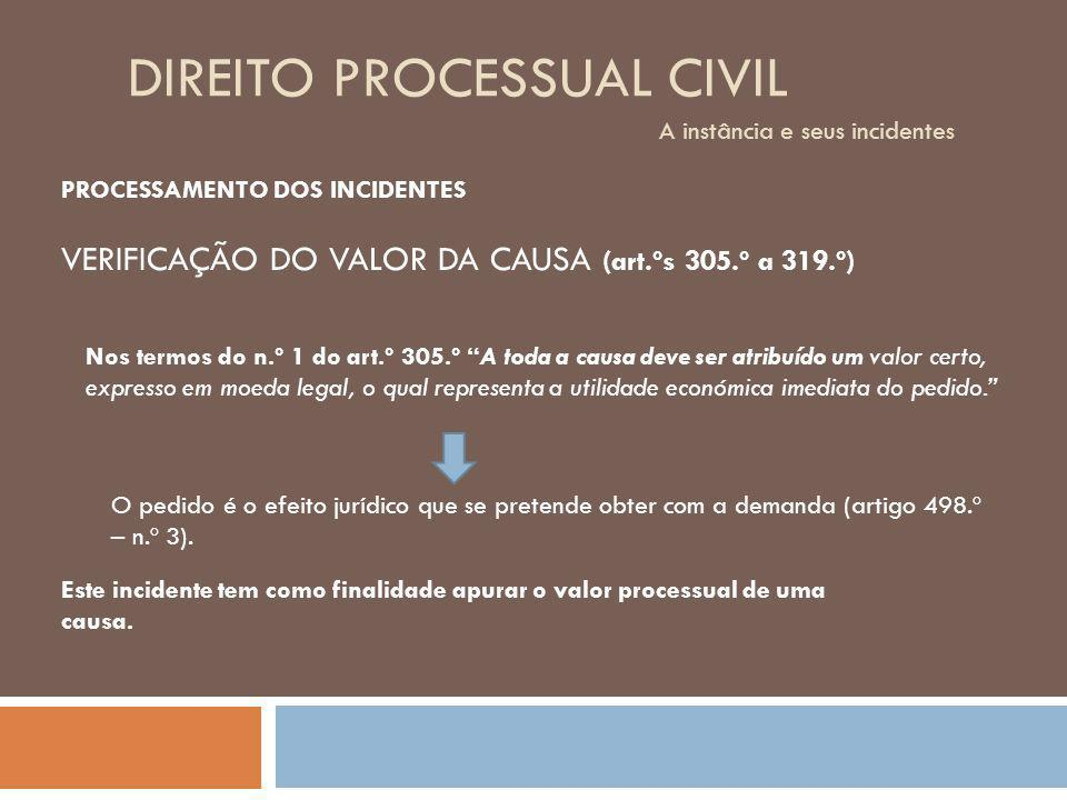 DIREITO PROCESSUAL CIVIL A instância e seus incidentes PROCESSAMENTO DOS INCIDENTES VERIFICAÇÃO DO VALOR DA CAUSA (art.ºs 305.º a 319.º) Este incident