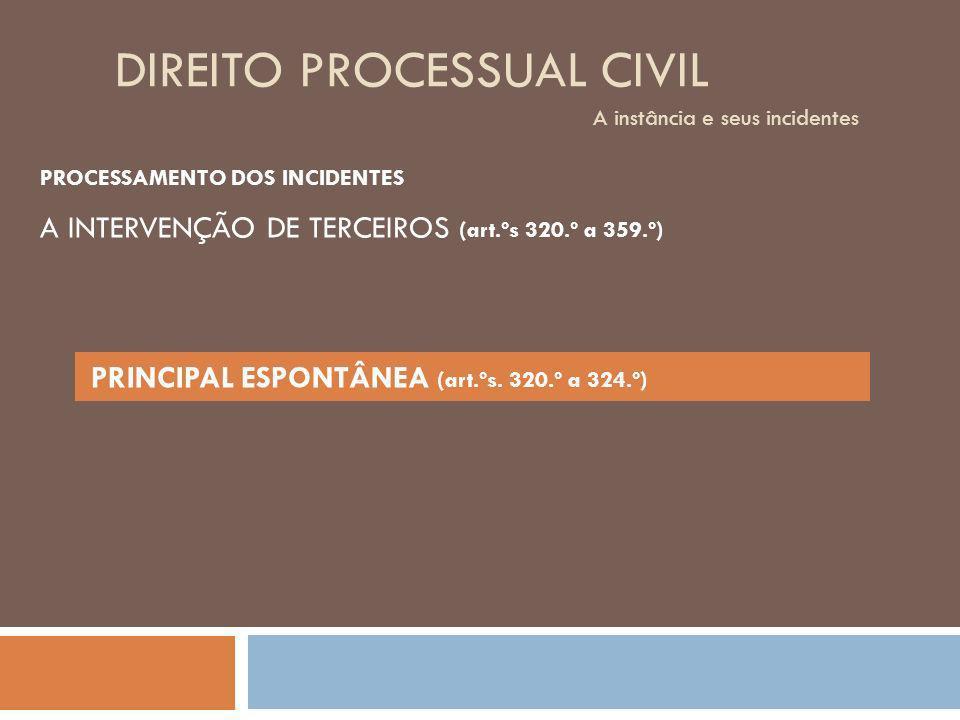 DIREITO PROCESSUAL CIVIL A instância e seus incidentes PROCESSAMENTO DOS INCIDENTES PRINCIPAL ESPONTÂNEA (art.ºs. 320.º a 324.º) A INTERVENÇÃO DE TERC
