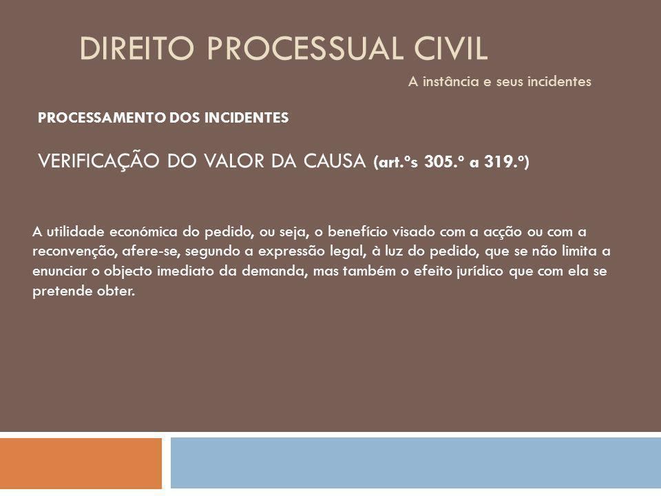 DIREITO PROCESSUAL CIVIL A instância e seus incidentes PROCESSAMENTO DOS INCIDENTES Em síntese: 1.