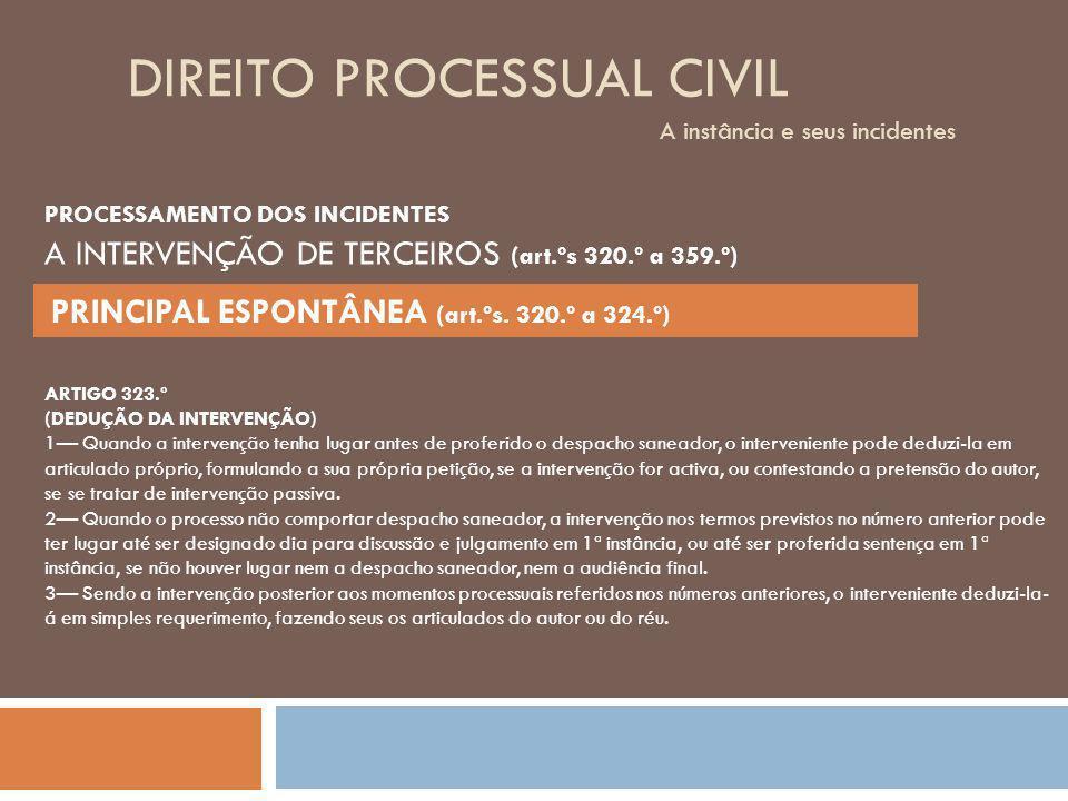 DIREITO PROCESSUAL CIVIL A instância e seus incidentes PROCESSAMENTO DOS INCIDENTES A INTERVENÇÃO DE TERCEIROS (art.ºs 320.º a 359.º) PRINCIPAL ESPONT
