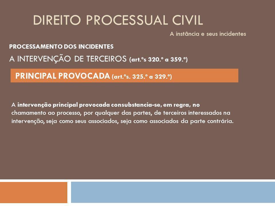 DIREITO PROCESSUAL CIVIL A instância e seus incidentes PROCESSAMENTO DOS INCIDENTES A intervenção principal provocada consubstancia-se, em regra, no c