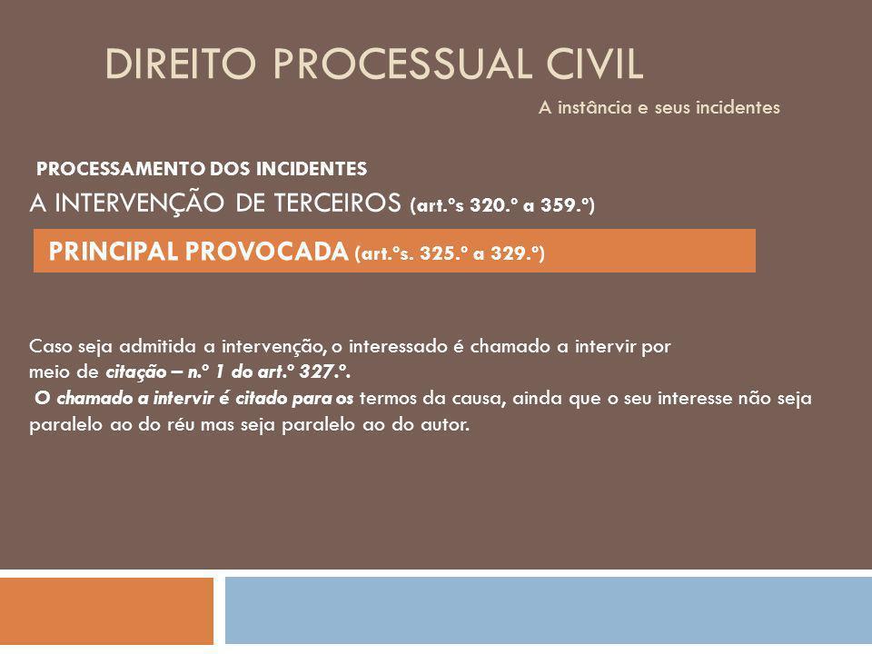DIREITO PROCESSUAL CIVIL A instância e seus incidentes Caso seja admitida a intervenção, o interessado é chamado a intervir por meio de citação – n.º
