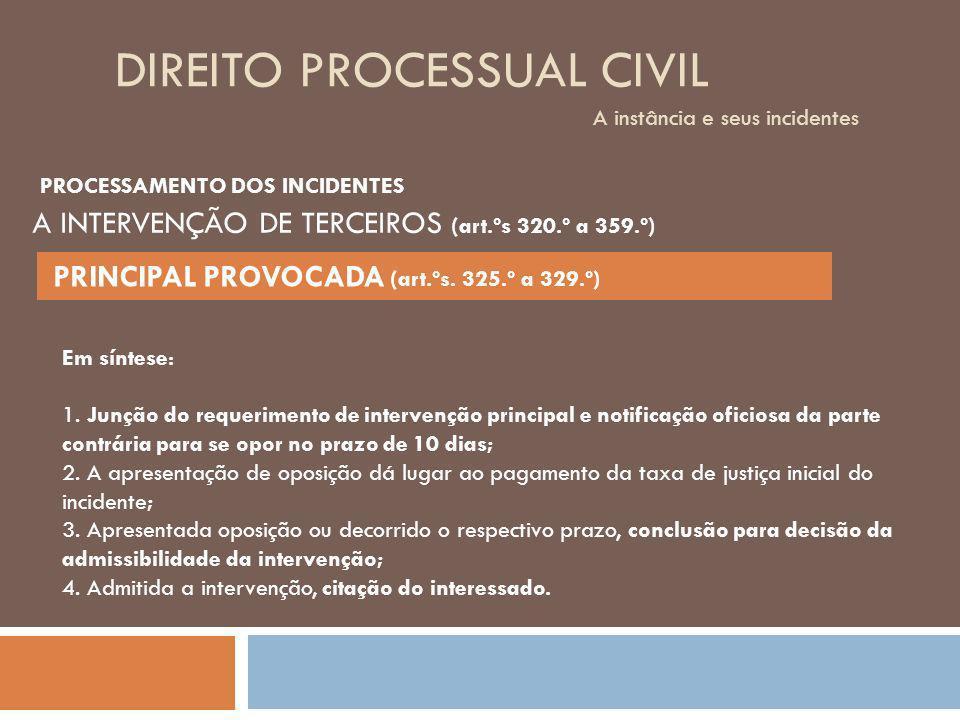 DIREITO PROCESSUAL CIVIL A instância e seus incidentes PROCESSAMENTO DOS INCIDENTES A INTERVENÇÃO DE TERCEIROS (art.ºs 320.º a 359.º) PRINCIPAL PROVOC
