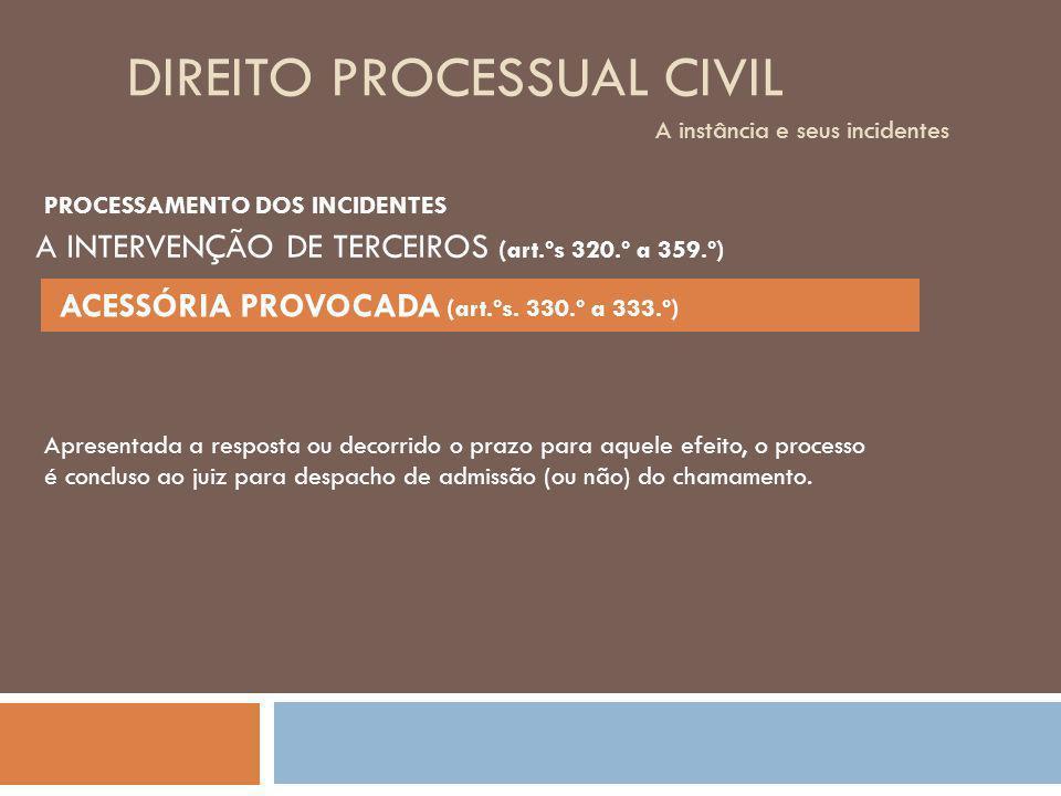 DIREITO PROCESSUAL CIVIL A instância e seus incidentes Apresentada a resposta ou decorrido o prazo para aquele efeito, o processo é concluso ao juiz p