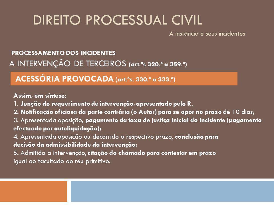 DIREITO PROCESSUAL CIVIL A instância e seus incidentes Assim, em síntese: 1. Junção do requerimento de intervenção, apresentado pelo R. 2. Notificação