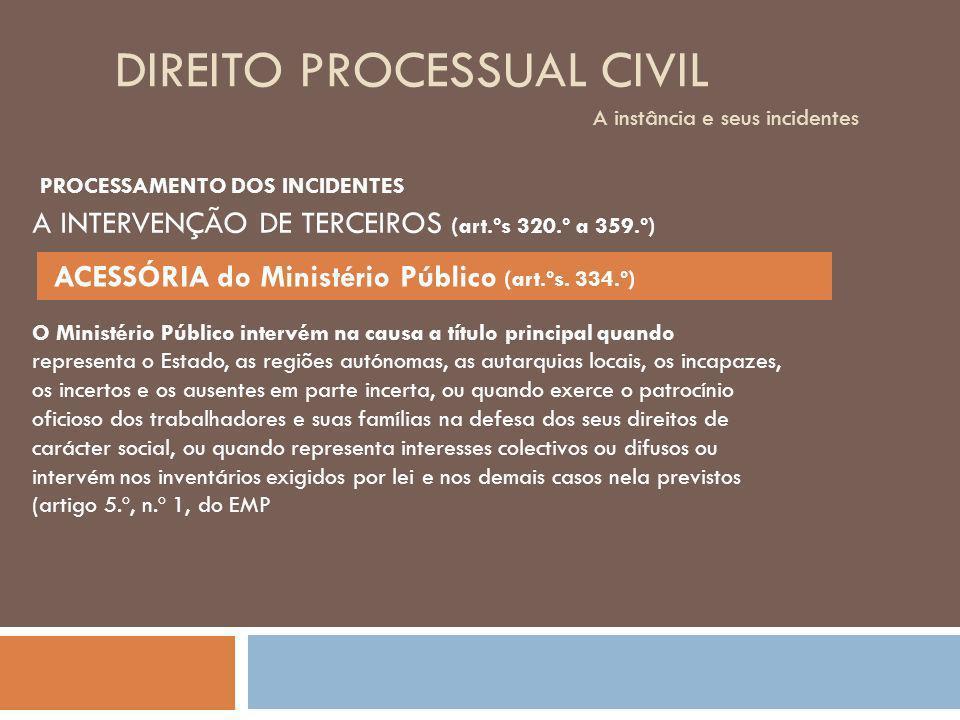 DIREITO PROCESSUAL CIVIL A instância e seus incidentes O Ministério Público intervém na causa a título principal quando representa o Estado, as regiõe