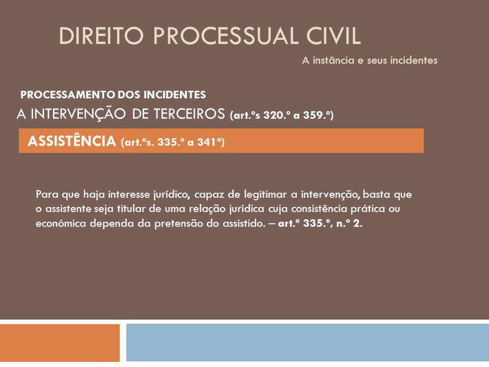 DIREITO PROCESSUAL CIVIL A instância e seus incidentes Para que haja interesse jurídico, capaz de legitimar a intervenção, basta que o assistente seja