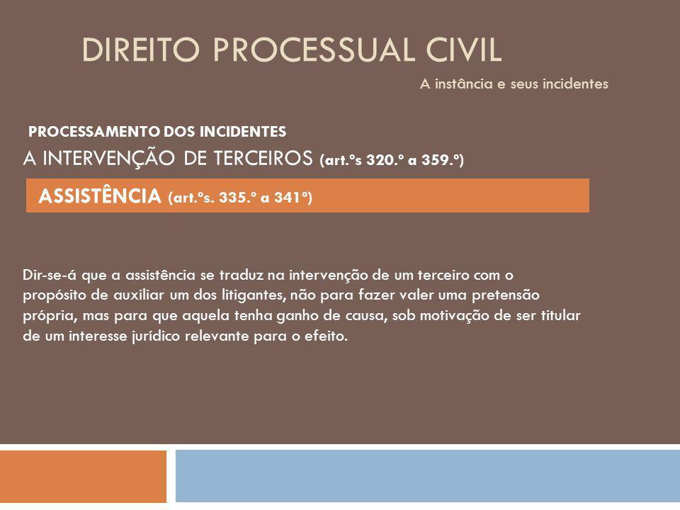 DIREITO PROCESSUAL CIVIL A instância e seus incidentes Dir-se-á que a assistência se traduz na intervenção de um terceiro com o propósito de auxiliar