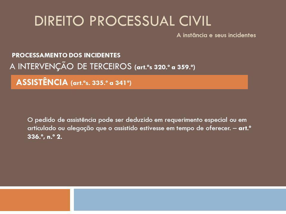 DIREITO PROCESSUAL CIVIL A instância e seus incidentes O pedido de assistência pode ser deduzido em requerimento especial ou em articulado ou alegação