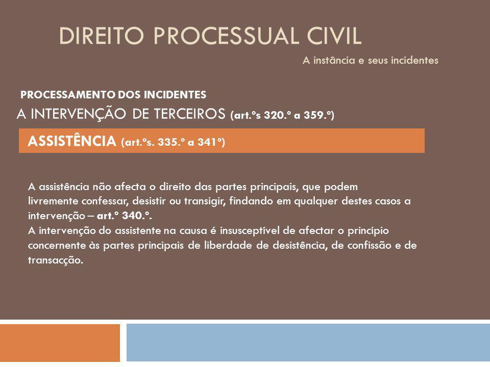 DIREITO PROCESSUAL CIVIL A instância e seus incidentes A assistência não afecta o direito das partes principais, que podem livremente confessar, desis
