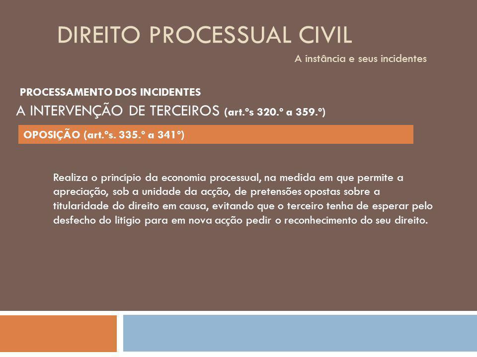DIREITO PROCESSUAL CIVIL A instância e seus incidentes Realiza o princípio da economia processual, na medida em que permite a apreciação, sob a unidad