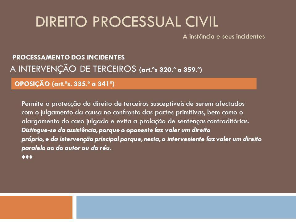DIREITO PROCESSUAL CIVIL A instância e seus incidentes Permite a protecção do direito de terceiros susceptíveis de serem afectados com o julgamento da
