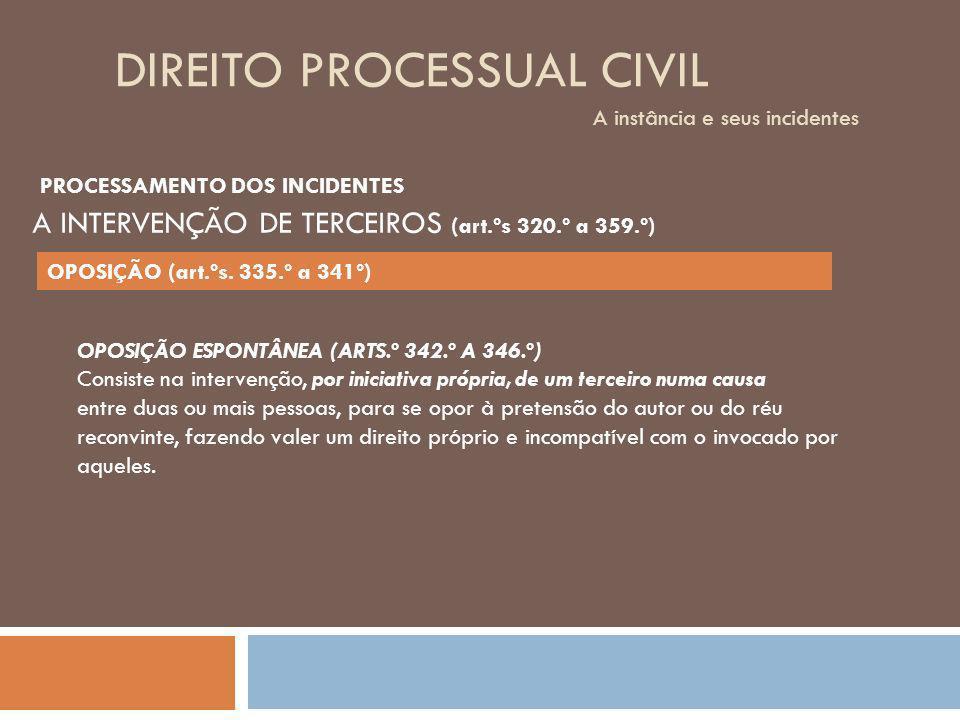 DIREITO PROCESSUAL CIVIL A instância e seus incidentes OPOSIÇÃO ESPONTÂNEA (ARTS.º 342.º A 346.º) Consiste na intervenção, por iniciativa própria, de