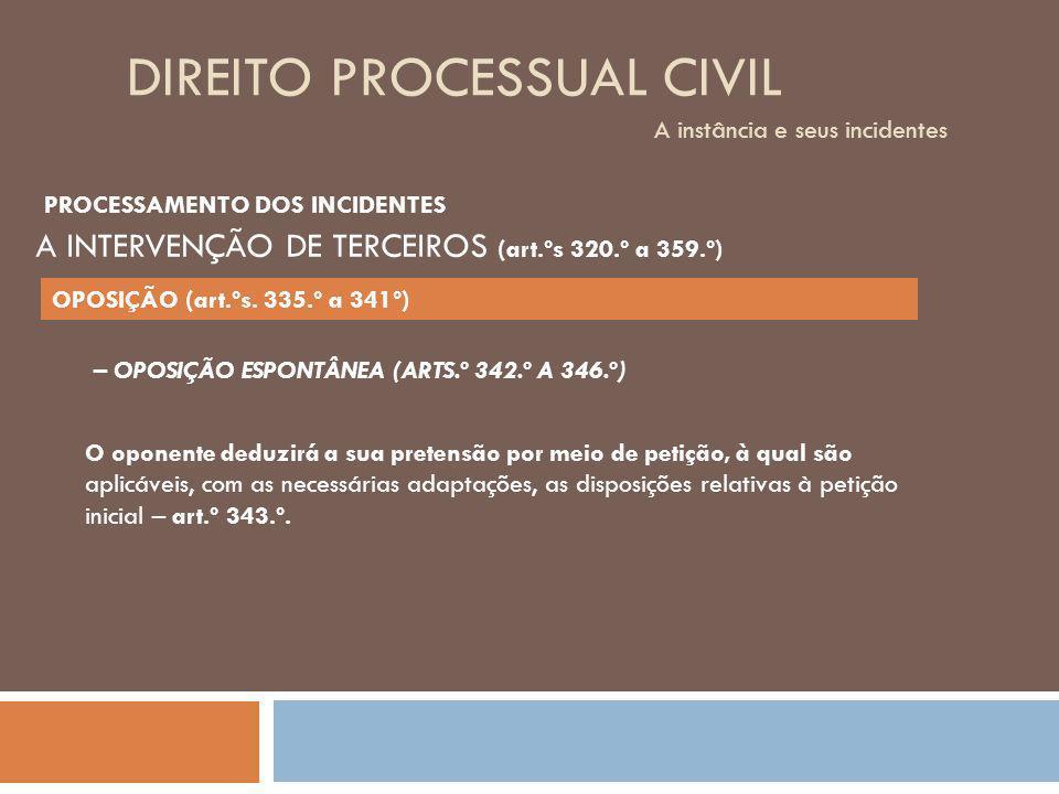 DIREITO PROCESSUAL CIVIL A instância e seus incidentes – OPOSIÇÃO ESPONTÂNEA (ARTS.º 342.º A 346.º) O oponente deduzirá a sua pretensão por meio de pe