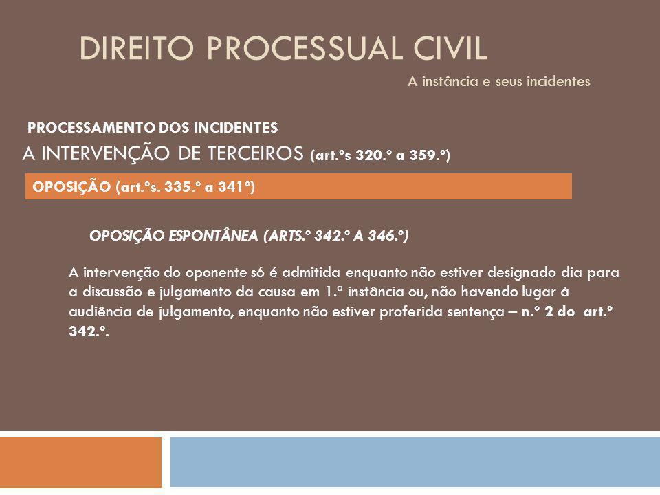 DIREITO PROCESSUAL CIVIL A instância e seus incidentes OPOSIÇÃO ESPONTÂNEA (ARTS.º 342.º A 346.º) A intervenção do oponente só é admitida enquanto não