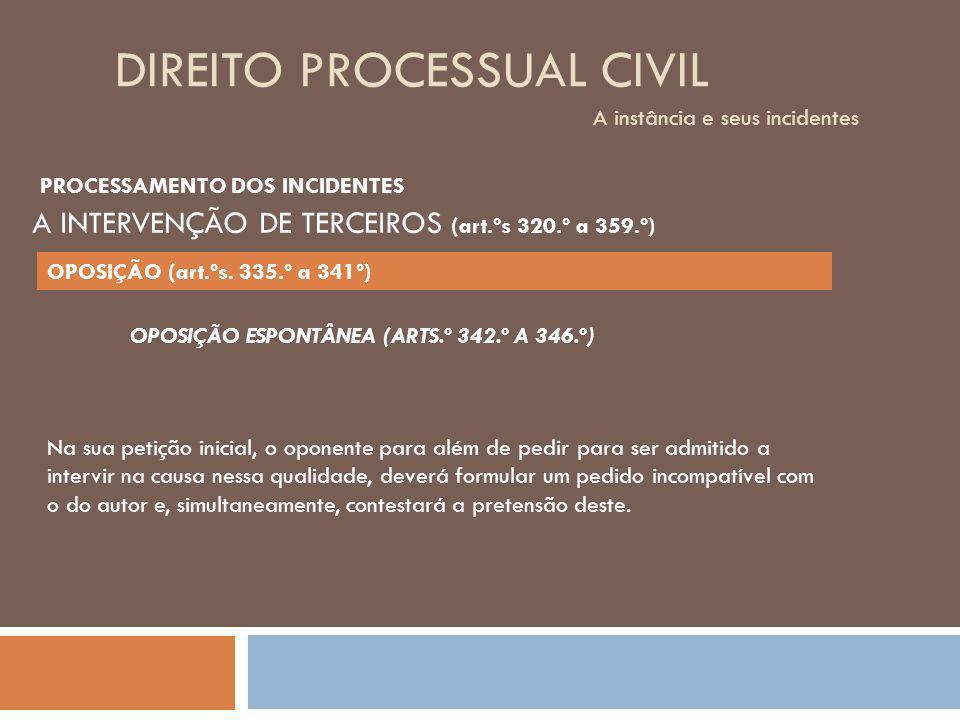 DIREITO PROCESSUAL CIVIL A instância e seus incidentes OPOSIÇÃO ESPONTÂNEA (ARTS.º 342.º A 346.º) Na sua petição inicial, o oponente para além de pedi
