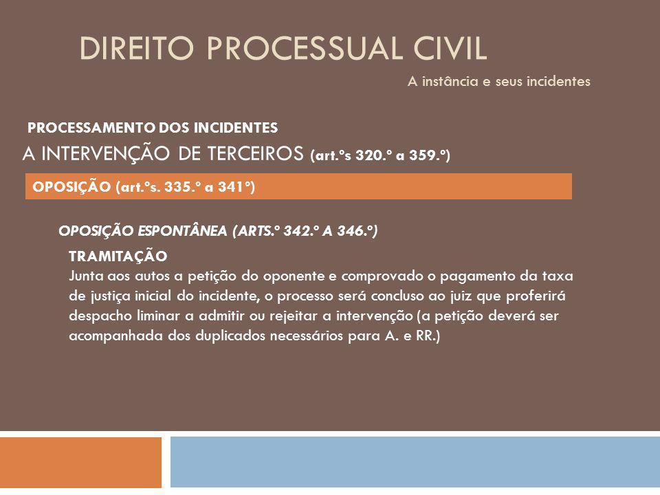 DIREITO PROCESSUAL CIVIL A instância e seus incidentes OPOSIÇÃO ESPONTÂNEA (ARTS.º 342.º A 346.º) TRAMITAÇÃO Junta aos autos a petição do oponente e c