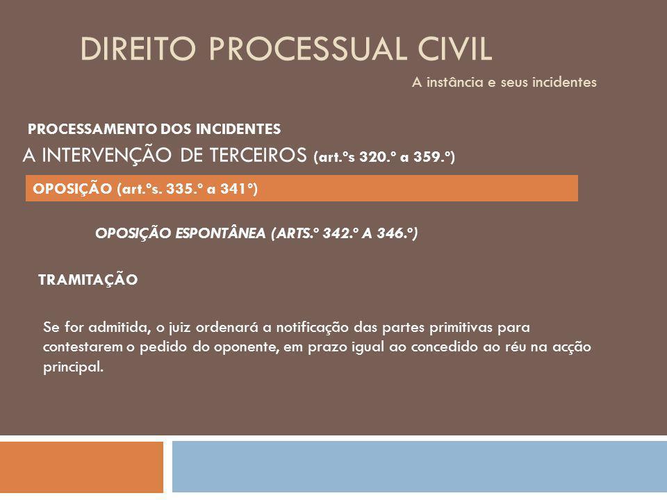DIREITO PROCESSUAL CIVIL A instância e seus incidentes OPOSIÇÃO ESPONTÂNEA (ARTS.º 342.º A 346.º) TRAMITAÇÃO Se for admitida, o juiz ordenará a notifi