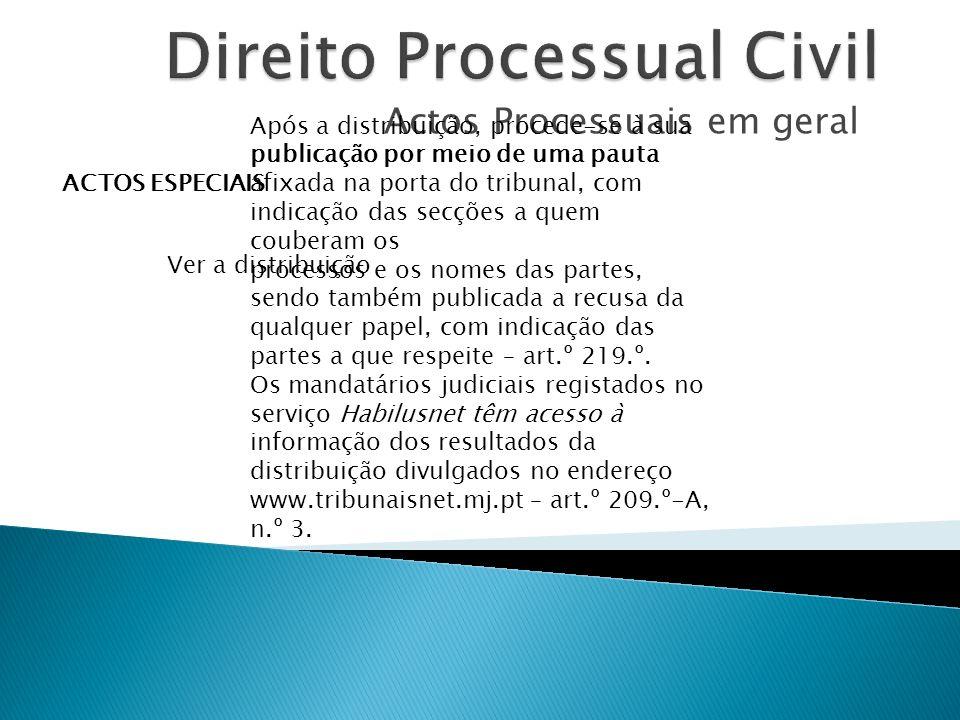 Actos Processuais em geral ACTOS ESPECIAIS Ver a distribuição Após a distribuição, procede-se à sua publicação por meio de uma pauta afixada na porta